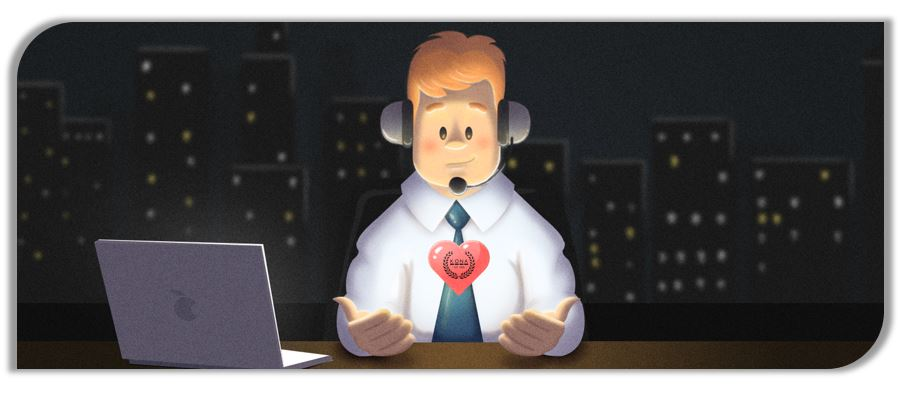 clipart customer service man with headset at desk and laptop with a heart shape in his hand