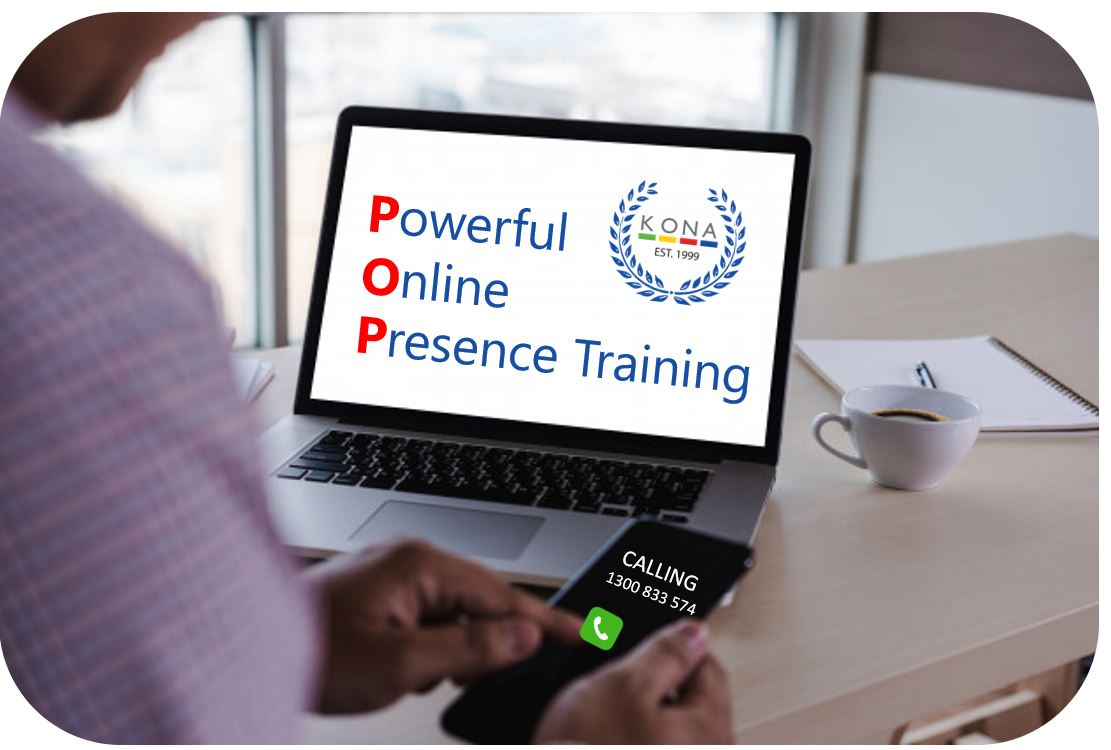 laptop with words Powerful Online Presence with KONA logo and man dialling mobile number 1300 833 574