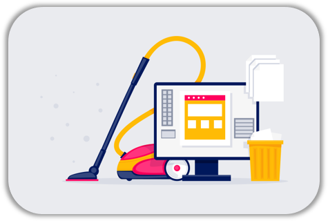 coloured clip art image of vacuum cleaner behind computer monitor and paperwork and a rubbish bin for sales ready cleaning your database training
