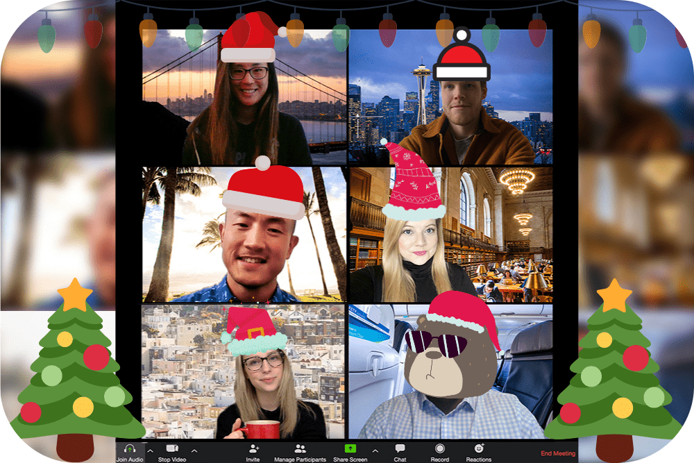 zoom meeting with six people with holiday backgrounds and clipart super imposed santa hats for a virtual christmas party