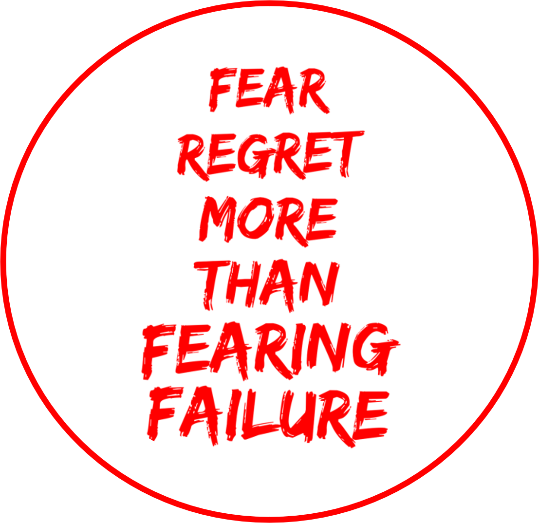 fear regret more than fearing failure quote in red for leaders fears blog post