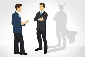 two clipart men talking with crossed arm with shadow with devil horns